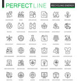 recycling energy thin line web icons set vector image vector image