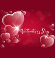 red valentine background with glassy hearts vector image
