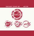 sale stamp set discount percentage badge vector image
