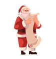 Santa Claus in glasses reading a long scroll of vector image