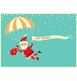 santa claus on parachute flying on blue sky vector image vector image