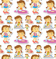 Seamle little girl doing chores vector image vector image