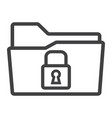 secure data folder line icon security and padlock vector image vector image