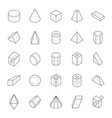 set 3d geometric shapes in line style vector image