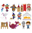 set fairytale characters on white background vector image vector image