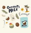 set icons coconut milk theme cocktail with vector image