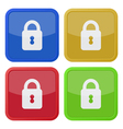 set of four square icons with closed padlock vector image vector image