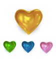 set of glossy colored heart vector image vector image