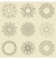 Set of hand drawn retro sunburst fireworks or