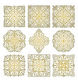 set of square golden patterns of oriental ornament vector image