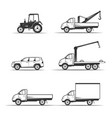set of various transportation and construction vector image vector image