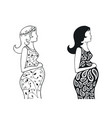 set silhouettes of a pregnant girl vector image vector image