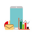 smartphone email message statistics diagram vector image vector image