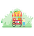 street food vending cart with hot dogs vector image vector image