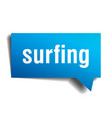 surfing blue 3d speech bubble vector image vector image