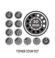 timer icon set simple flat style vector image vector image