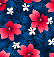 Tropical red hibiscus flowers in a seamless vector image vector image