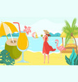 vacation hot tropical country woman character vector image vector image
