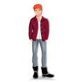 young redheaded man keeping hands in the pockets vector image