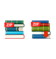 ZIP books stacks icons vector image vector image