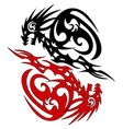 tattoo silhouette two dragon sketch vector image