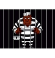 Cartoon prisoner behind bars in the prison vector image