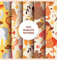 animals seamless pattern with kids characters and vector image