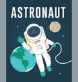 astronaut floating in space vector image vector image