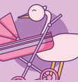 baby shower card with cart and stork vector image