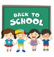 Back to school theme with boys and girls vector image vector image