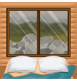 background interior wooden cabin with bed and vector image vector image