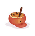 baked stuffed apple on a white vector image vector image