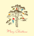 birds christmas tree greeting card colorful cute vector image vector image
