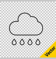 black line cloud with rain icon isolated on vector image vector image