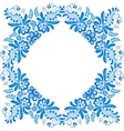 Blue ornamental floral frame in gzhel style vector image vector image