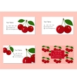 Business Cards with Juicy Ripe Cherry Fruit vector image