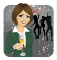 businesswoman holding glass of champagne vector image