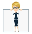 Businesswoman in suit with blank paper vector image