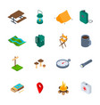 camping hiking sign 3d icon set isometric view vector image vector image