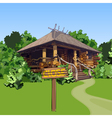 cartoon wooden house in the woods with a sign vector image vector image