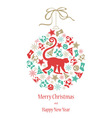 Christmas card Monkey in green-gold colors vector image vector image