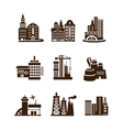 City building icons set vector image