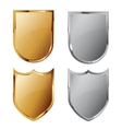 Collection of silver and golden shields vector image vector image