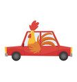 colored kids transport with cute little cock or vector image vector image