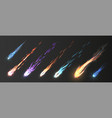 comets and meteorite set realistic meteors vector image