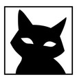 cute face a black cat with big eyes vector image vector image