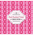 Cute pink tribal pixels pattern and white label vector image vector image