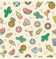 cute seamless summer pattern with summer elements vector image