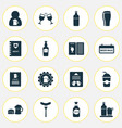 drink icons set with badge bottle of beer waiter vector image