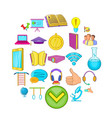 excellent pupil icons set cartoon style vector image vector image